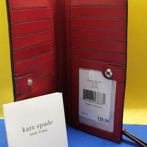 New Kate Spade Rosso Wallet on Red